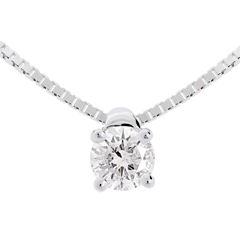 Collier solitaire or blanc - 0.21 carat