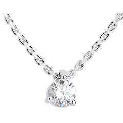 Collier solitaire or blanc - 0.31 carat