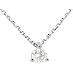 Collier solitaire or blanc 18 carats - 0.26 carat