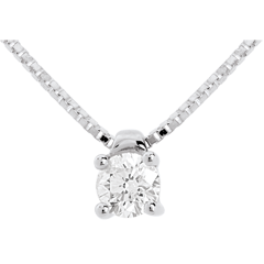 Collier solitaire or blanc (TGM) - 0.26 carat