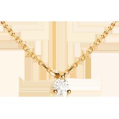 Collier solitaire or jaune - 0.11 carat