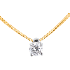 Collier solitaire or jaune - 0.21 carat