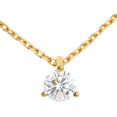 Collier solitaire or jaune - 0.26 carat