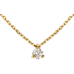 Collier solitaire or jaune 18 carats - 0.16 carat