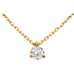Collier diamant solitaire or jaune