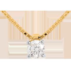 Collier solitaire or jaune 18 carats (TGM) - 0.26 carat