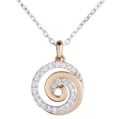 Collier Spirale d'amour or blanc et or rose