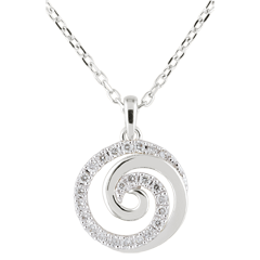 Collier Spirale d'amour or blanc