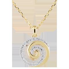 Collier Spirale der Liebe Weißgold und Gelbgold