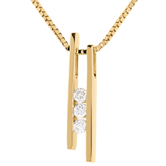 Collier Stimmgabel Trilogie in Gelbgold - 3 Diamanten