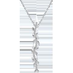 Collier tige Jardin Enchanté - Feuillage Royal - or blanc et diamants - 9 carats