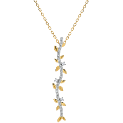 Collier tige Jardin Enchanté - Feuillage Royal - or jaune et diamants - 9 carats