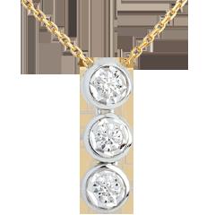 Collier Trilogie Sternschnuppe in Weiss- und Gelbgold - 3 Diamanten