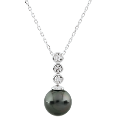 Collier Trilogie sur Perle - 3 Diamanten
