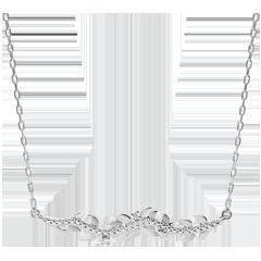 Collier Verzauberter Garten - Königliches Blattwerk - Weißgold und Diamanten - 9 Karat