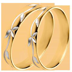 Coppia di Fedi Nuziali - Edera Incisa - oro giallo - 18 carati.