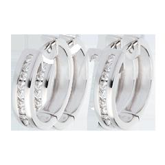 Creole din aur alb de 18K cu diamante - setare bară - 0.24 carate - 22 de diamante
