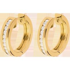 Creole din aur galben de 18K cu diamante - setare bară - 0.33 carate - 22 de diamante