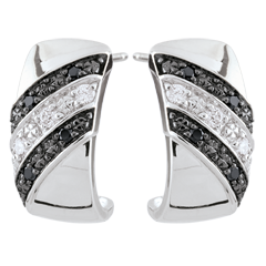 Creolen Chiaroscuro - Schemering - zwarte Diamanten - 9 karaat witgoud
