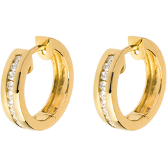 Creolen in Gelbgold - 0.24 Karat - 22 Diamanten
