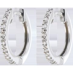 Créoles Or Blanc semi pavées - 16 diamants