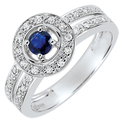 Destiny Engagement Ring - Lady - 0.2 carat sapphire and diamonds - white gold 18 carats