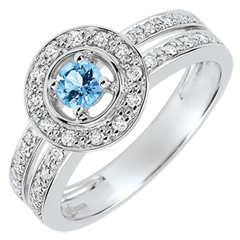 Destiny Engagement Ring - Lady - 0.2 carat topaz and diamonds - white gold 18 carats