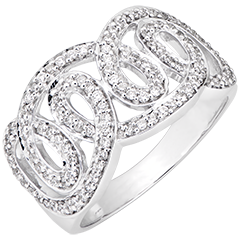Destiny Ring - Imperial Swirls - 9K White Gold and Diamonds