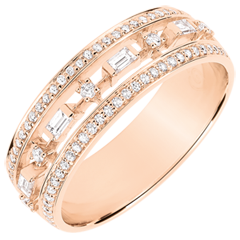 Destiny Ring - Little Empress - 71 diamonds - pink gold 9 carats