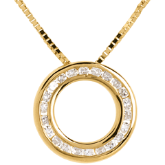 Diamantcollier Pendel in Gelbgold - 22 Diamanten
