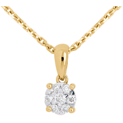 Diamond drop pendant yellow gold - 7 diamonds
