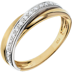 Diamond Saturn Ring - White and Yellow gold - 9 carat