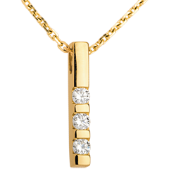 Diamond trilogy pendant yellow gold - 0.22 carat - 3 diamonds