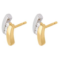 Diamond Trilogy Stud Earrings-yellow gold- white gold - 6 diamonds - 18 carats
