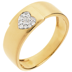 Diamond yellow gold paved heart ring - 13diamonds