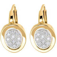 Dormeuses alcôve or jaune et or blanc pavé - 0.24 carats - 20 diamants