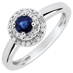 Double Halo Engagement Ring - 0.3 carat sapphire and diamonds - white gold 18 carats