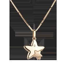 Duetto stelle - modello grande - Oro giallo - 9 carati - Diamante