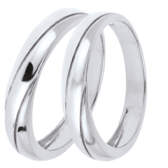 Duo d'alliances Saturne Trilogy - or blanc - 9 carats