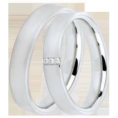 Duo trouwringen Cachemire 3 diamanten