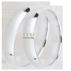 Duo trouwringen Extra 3 diamanten