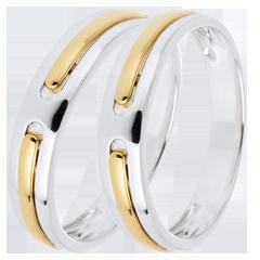 Duo trouwringen Hercules - geen goud - geel goud en wit goud