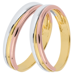 Duo trouwringen Trya in 3 goudkleuren
