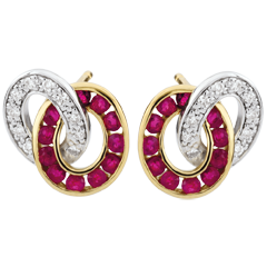 Duorama Diamond and Ruby Earrings