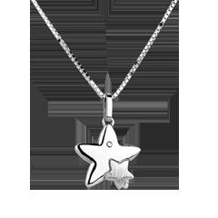 Dwie Gwiazdy - duży model - złoto białe 9-karatowe