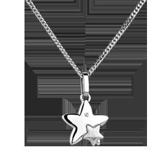 Dwie Gwiazdy - mały model - złoto białe 18-karatowe