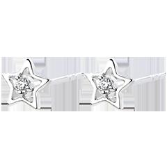 Earrings Abundance - My star - white gold 9 carats and diamonds