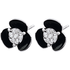 Earrings Clair Obscure - Midnight Flowers - white gold and lacquer