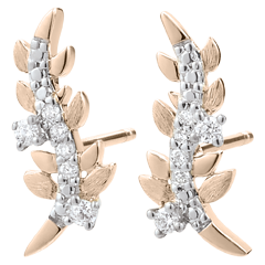 Earrings Enchanted Garden - Foliage Royal - Pink gold and diamonds - 18 carat