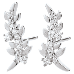 Earrings Enchanted Garden - Foliage Royal - White gold and diamonds - 18 carat